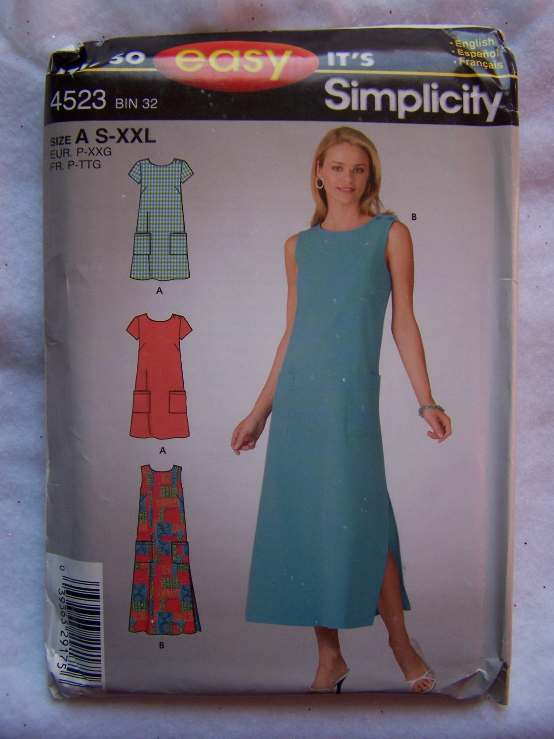 Uncut Simplicity Sewing Pattern 4523 2 Length Dresses Sleeveless or Short Sleeves S M L XL XXL