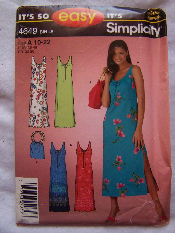 Free USA S&H New Simplicity Sewing Pattern 4649 Womens Tank Dress Side Slit & Tote Purse 10-22