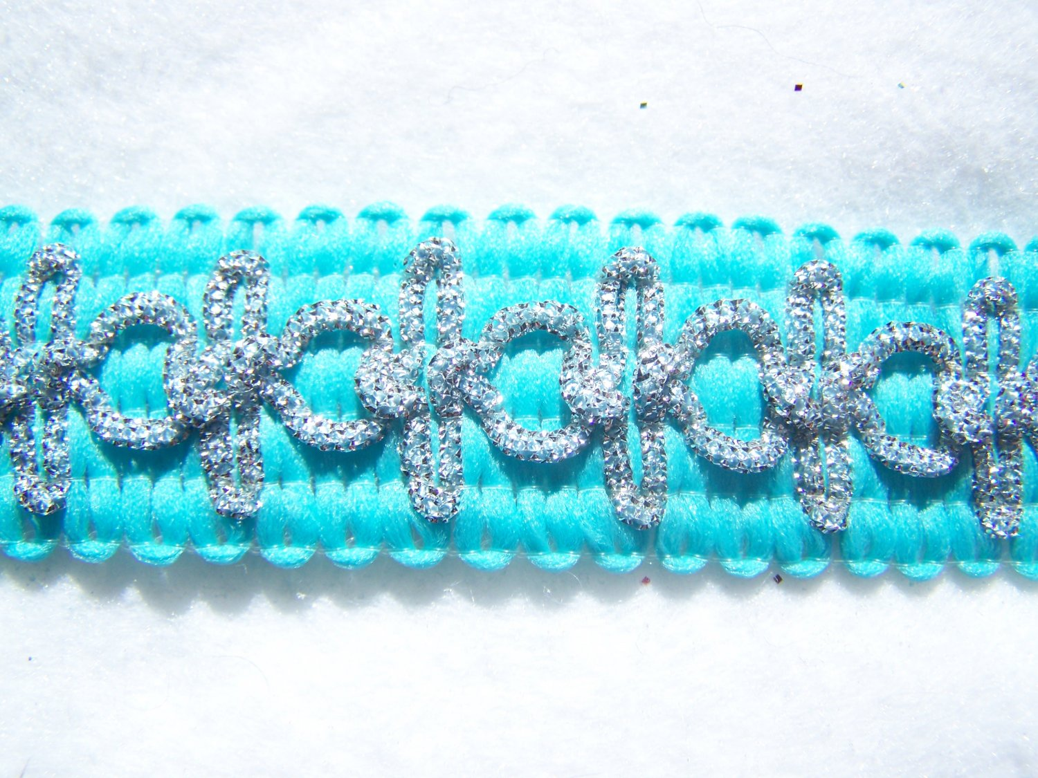 "Vintage Aqua Teal Gimp Lace Trim with Silver Metallic Cord 1 Yard x 1"" wide"