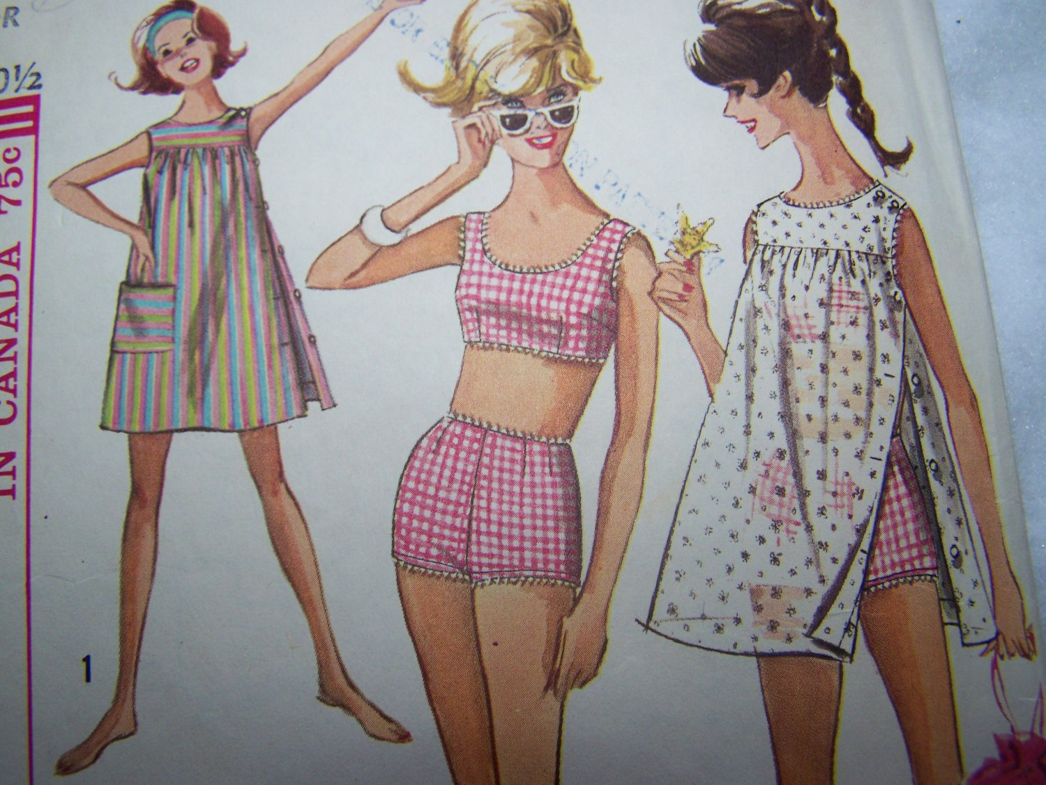 Vintage Simplicity Sewing Pattern 6018 Junior Girls 9 2 Pc Bathing Suit Tent Dress Cover Up