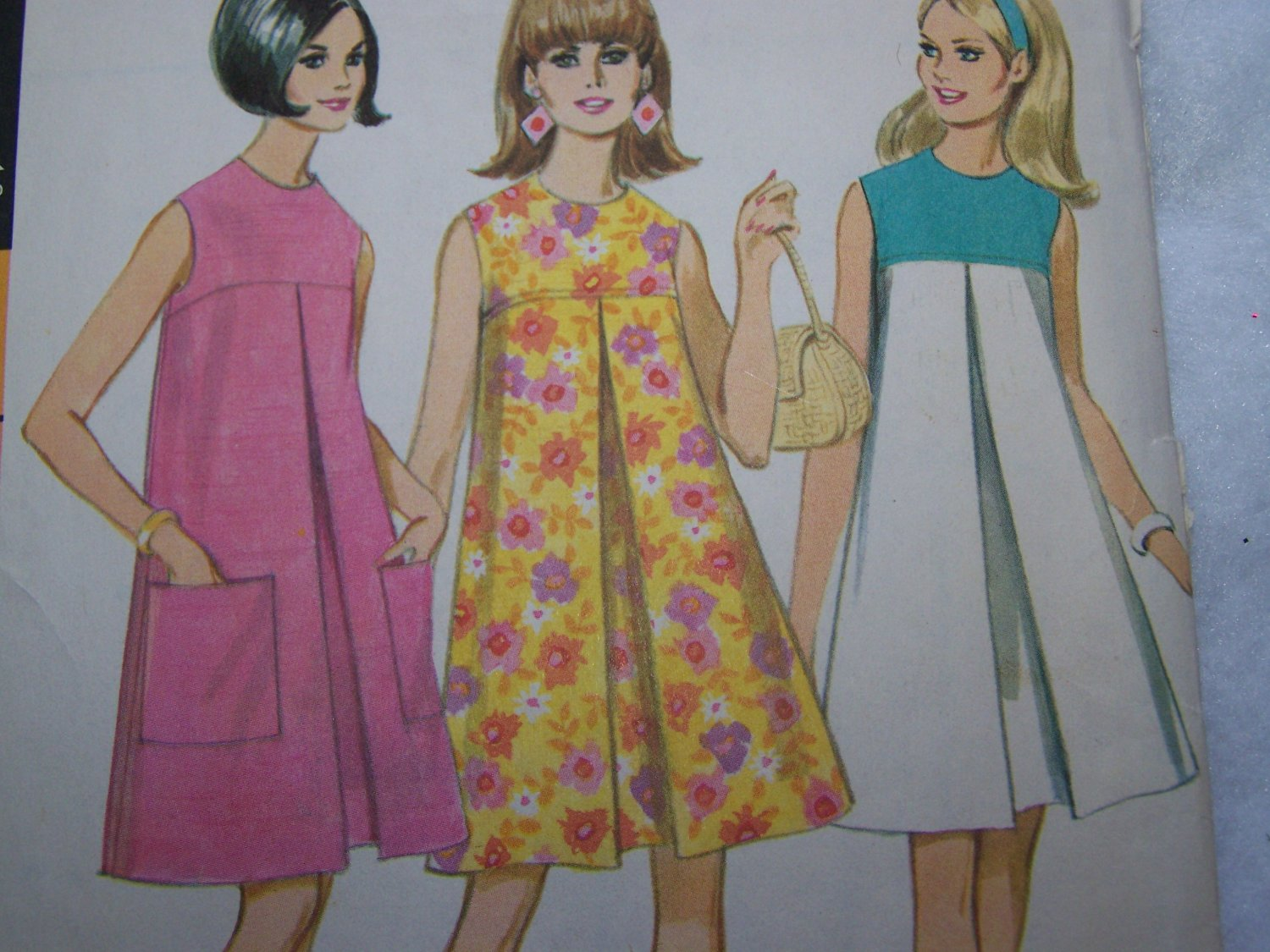 60s Vintage Sewing Pattern McCall's 8755 Misses XS S Inverted Pleat Tent Dress Size 10
