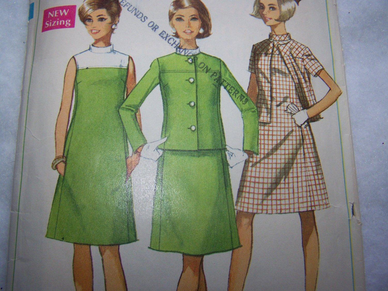 60s Vintage A Line Dress & Jacket Sewing Pattern 7437 Bias Stand Up Collar Princess Seams Sz 10