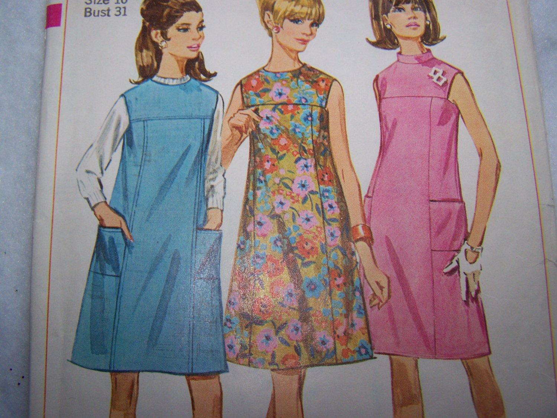 Vintage Sewing Pattern Mad Men Dress or Jumper 7080 Round or Mandarin Collar Sz XS S
