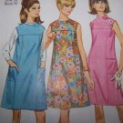 Vintage Sewing Pattern Mad Men Dress or Jumper 7080 Round or Mandarin Collar Sz XS S