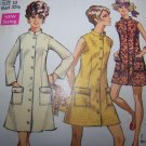 60's Misses Vintage Sewing Pattern 8077 Coat Dress Mandarin Collar Mini & Regular Length XS S