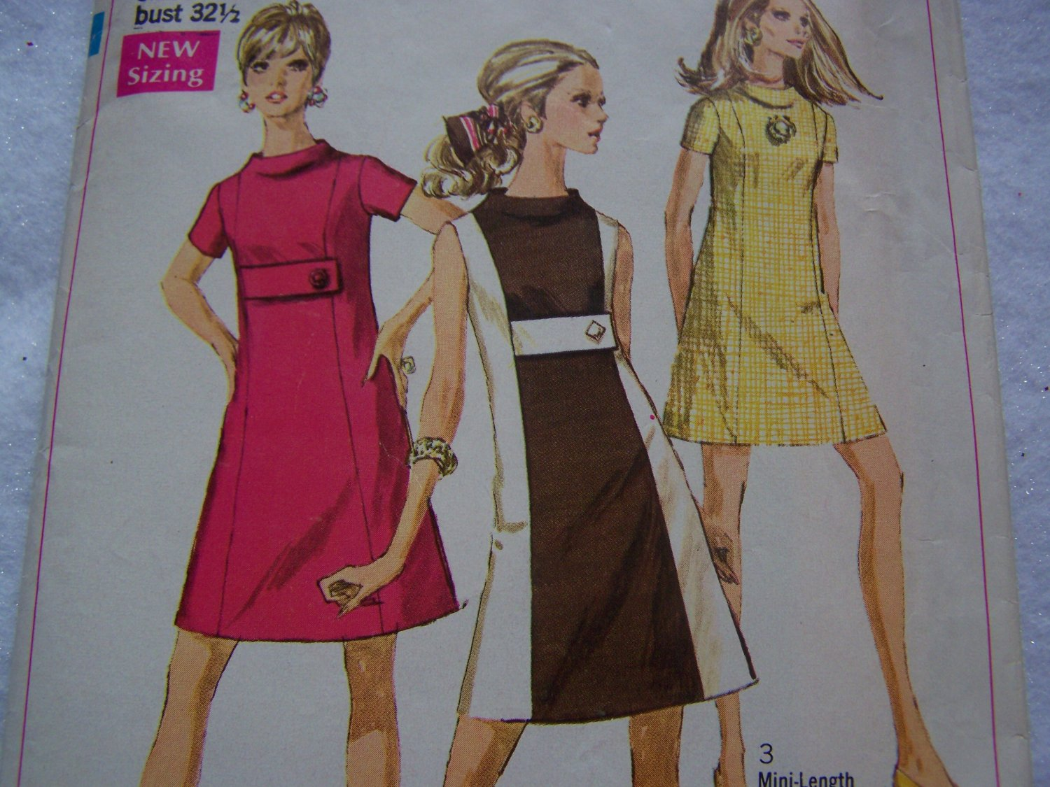 Misses Bust 32.5 Vintage A Line Dress Sewing Pattern 7675 Empire Tab Button Belt
