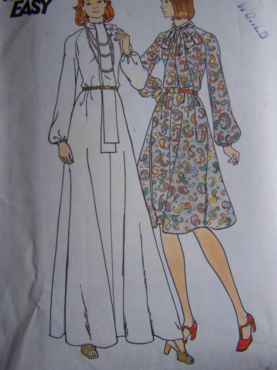 Vintage Butterick Sewing Pattern 3943 Flared Long Maxi or Reg Length Dress Turnover Tie Collar Sz 12
