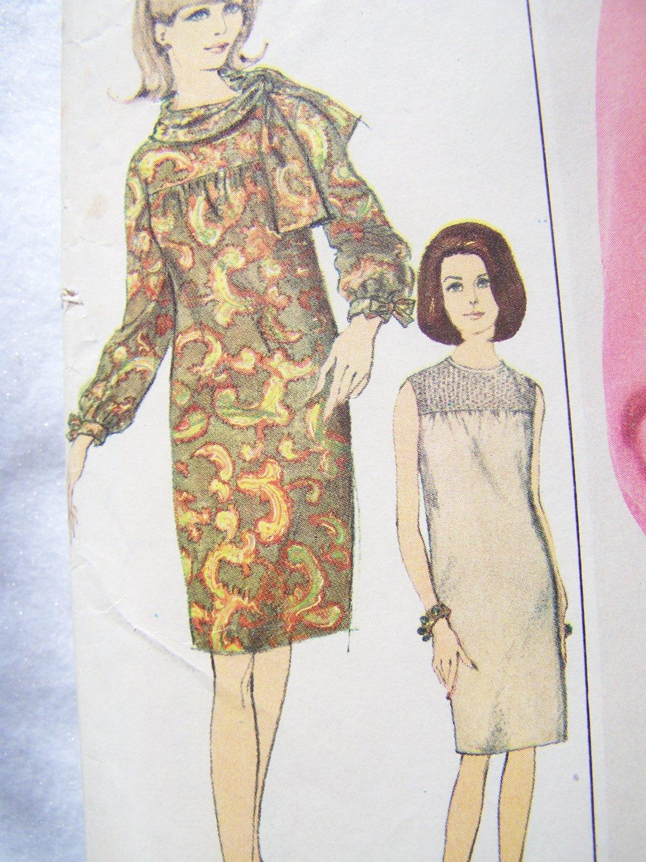 1960s Misses Vintage Sewing Pattern 6778 Slim Dress Smocked Yoke Bust 31