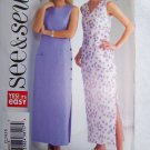 Uncut Sewing Pattern 4162 Misses 12 14 16 Straight Dress Above Ankle Side Slit