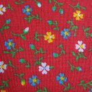 Vintage Cotton Fabric Burnt Red Ground Tiny Flowers White Yellow Light Blue 1 1/2 Yards