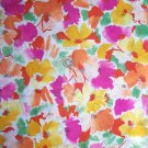 2 Yards x 64 Inches Vintage Knit Fabric Paint Brush Large Stylized Bright Flowers