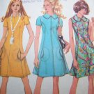 70s Vintage McCall&#39;s Sewing Pattern 2545 Misses Princess Seamed A Line Dress Oval Pockets Sz 10
