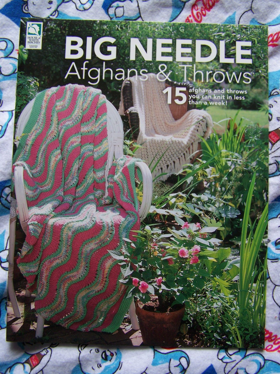 NEW Knitting Pattern Book House of White Birches 15 Afghans & Throws Knit Blankets