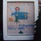 Primitive Folk Art Cross Stitch Pattern Winter Angel Fanci That 72