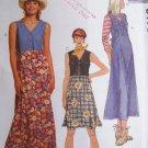 Uncut McCalls Sewing Pattern 8173 Misses 10 12 14 Summer Dress or Jumper Dresses Hi Waist Back Ties
