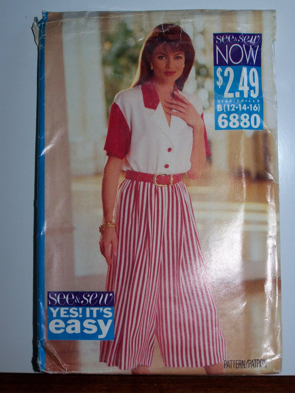 Uncut 1990s Easy Wide Legged Culotte Dress Sewing Pattern 6880 Misses 12 14 16