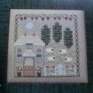 Cross Stitch Pattern Chart Shepherds English Cottage Sheep Scene Pine Trees Floral Border