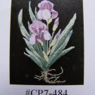 Purple Iris Flowers Cross Stitch Embroidery Chart Pattern with Border