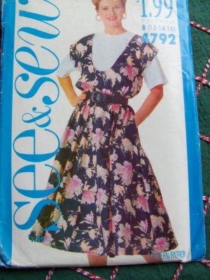 Uncut Sewing Pattern 4792 Flared Skirt Scoop Neck Jumper Dress & Top 12 14 16