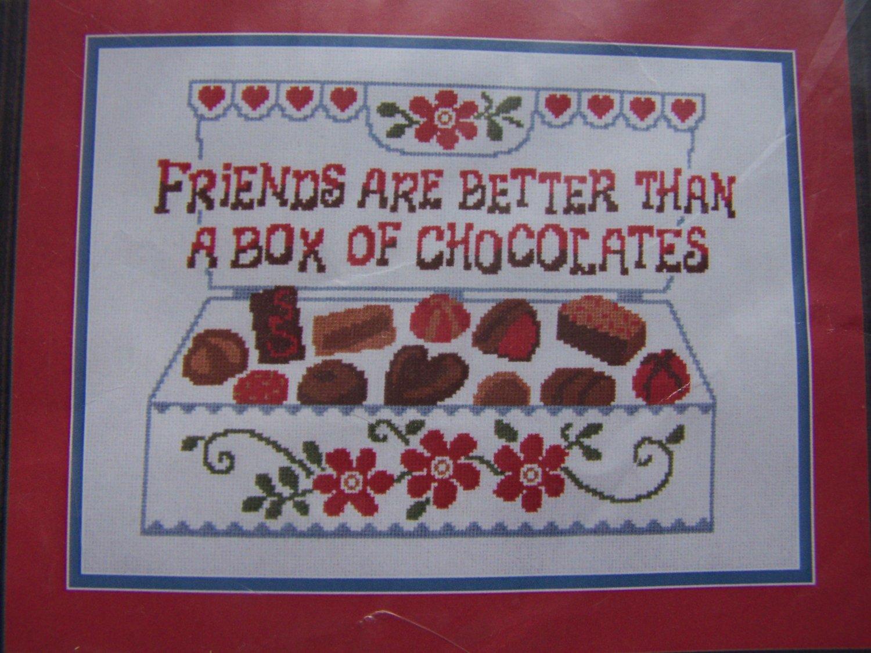 New Herrschners Stamped Cross Stitch Craft Kit Friends & Chocolates Box of Candy