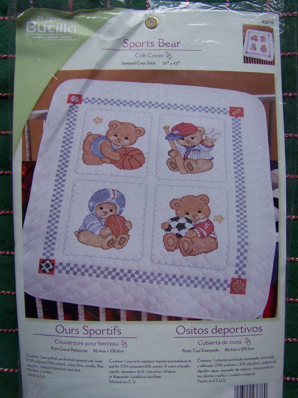 Bucilla Cross Stitch Kit Sports Bear Layette Quilted Crib Baby Blanket 43676