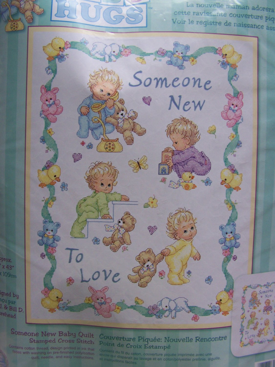 New Dimensions Baby Hugs Someone New Stamped Cross Stitch Quilt Kit 72963