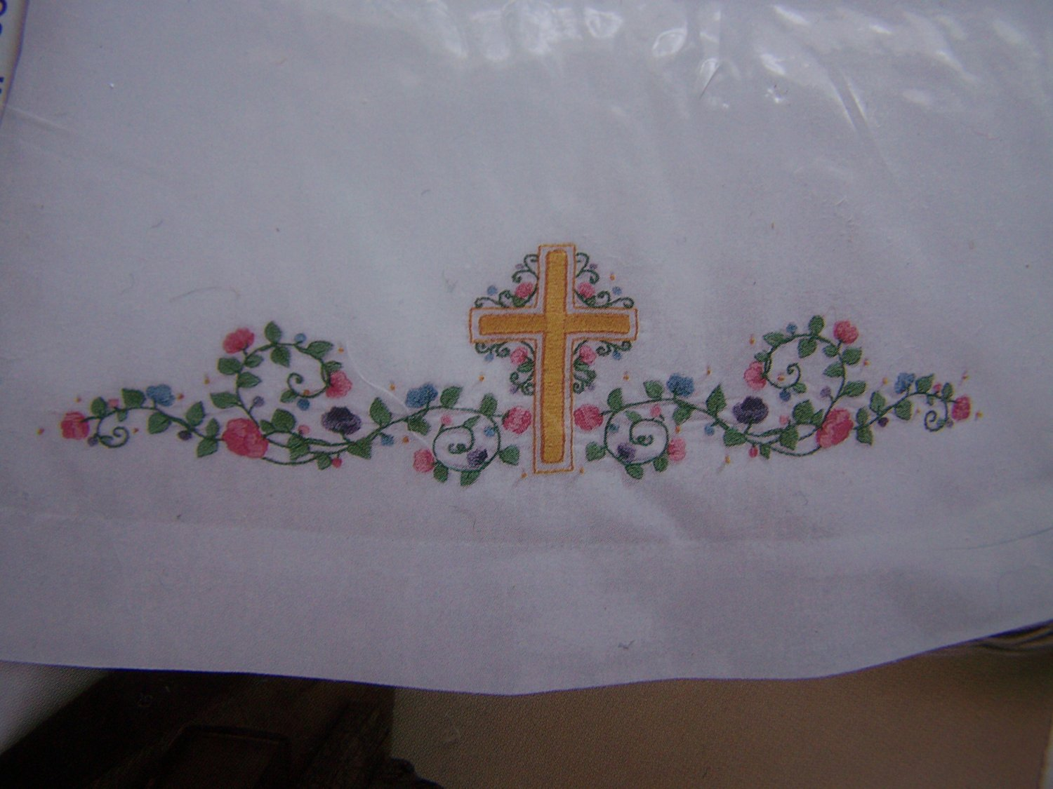 Bucilla Special Edition Floral Cross Embroidery Stamped Pillowcases Set of 2 65328