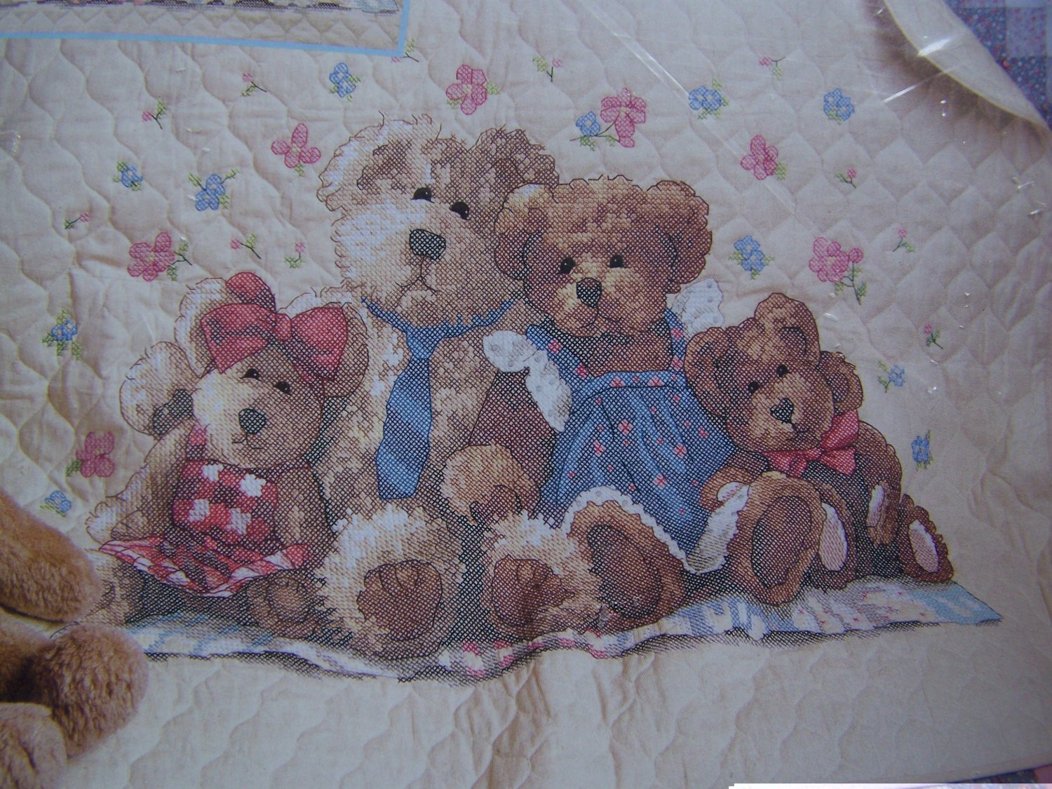 New Dimensions Stamped Cross Stitch Baby Quilt Kit Bear Hugs Crib Layette