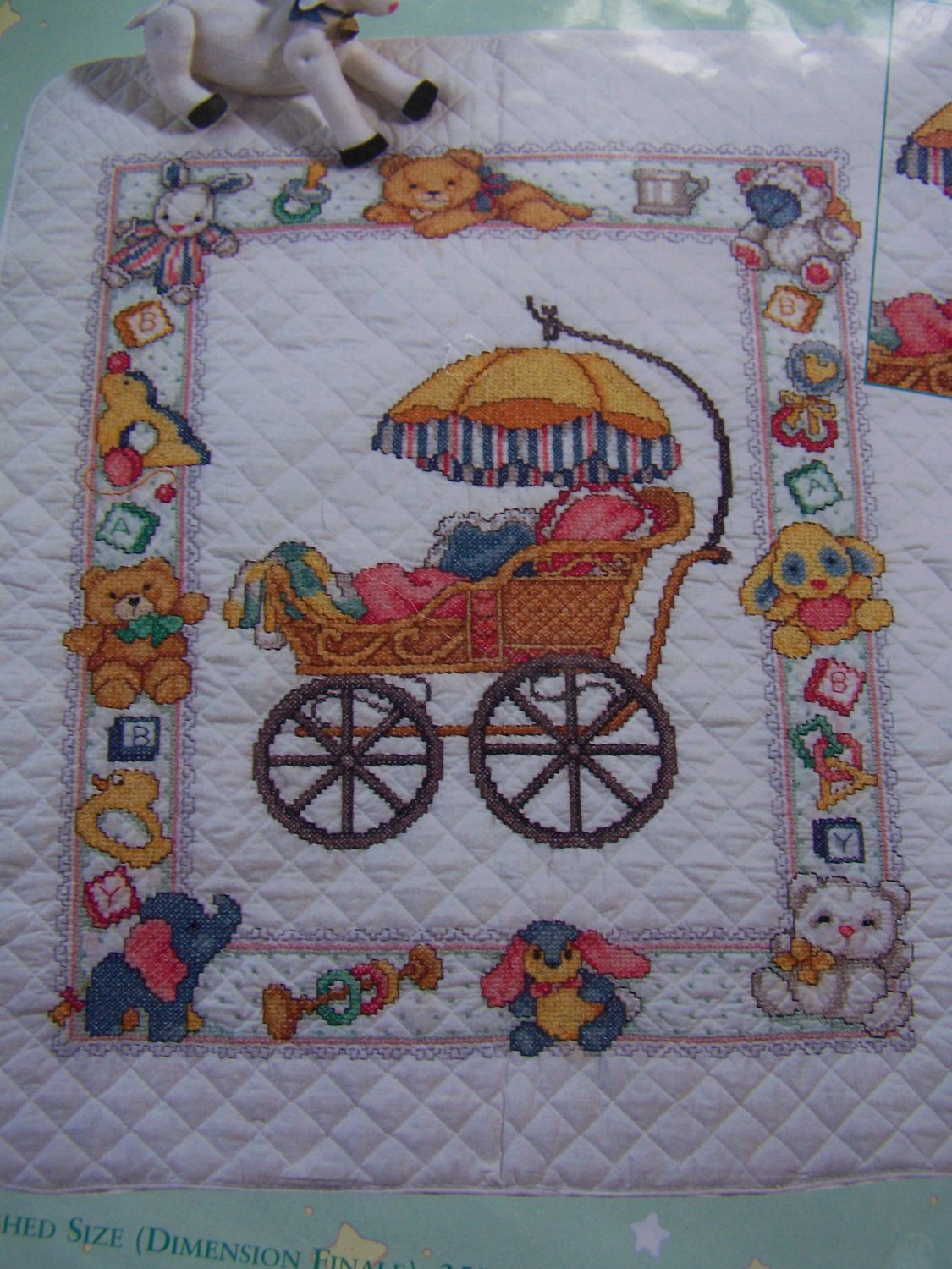 Needle Treasures Stamped Cross Stitch Baby Nursery Quilt Kit Blanket 04236