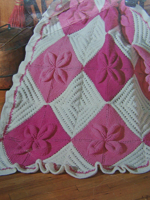 Vintage Knitting Pattern Spinnerin Nantucket Afghan Pattern 372