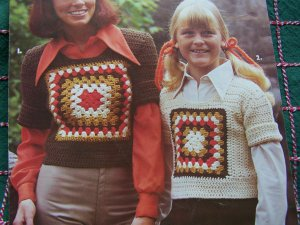1970s Vintage Crochet Patterns Granny Square Sweaters Kids & Adult + Afghan Leaflet 58