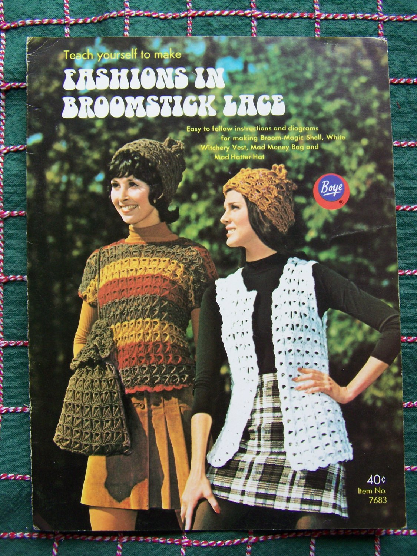 Vintage Boye Crochet Patterns Broomstick Lace Top Vest Purse Baby Sweater & Bonnet 7683