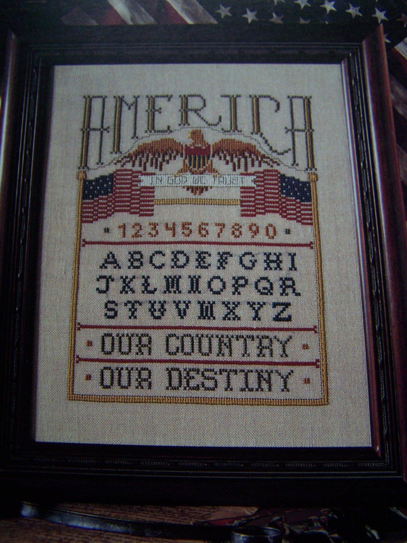 1994 American Sampler Cross Stitch Pattern Eagle Flag In God We Trust