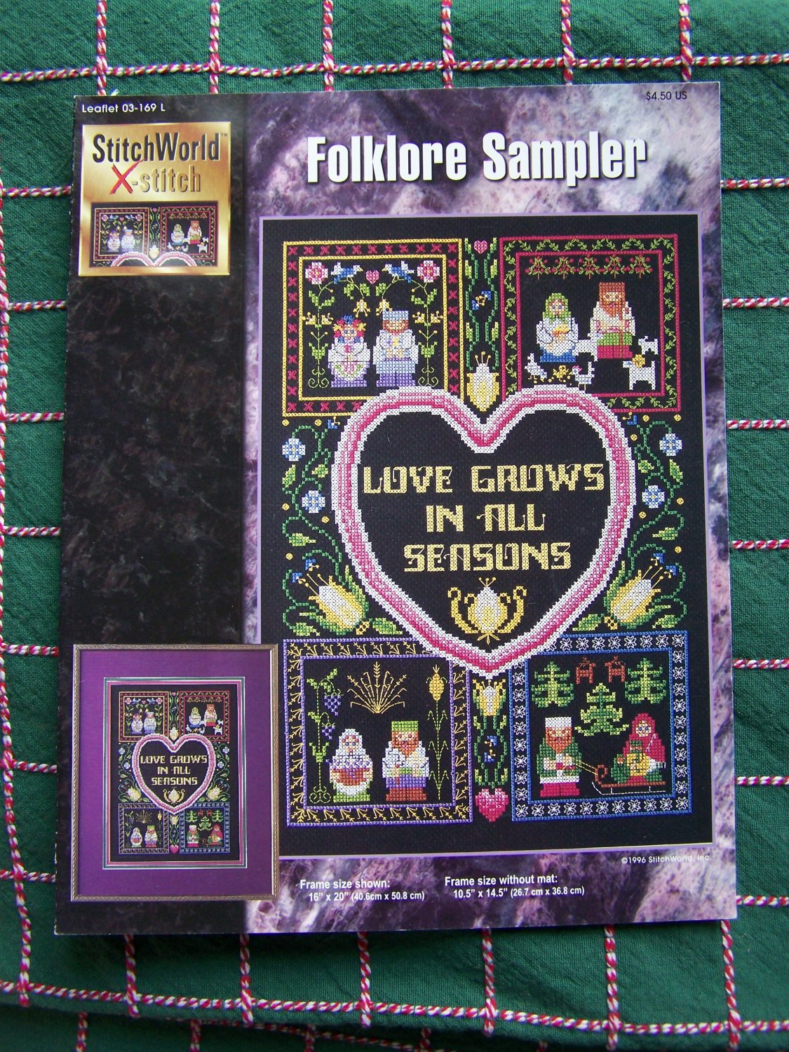 New Cross Stitch Leaflet Pattern Folk Art Sampler Love Grows In All Seasons