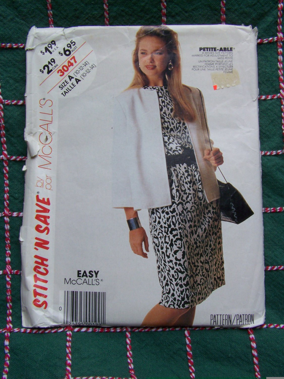 New 80s Vintage Sewing Pattern 3047 Misses Straight Dress & Jacket 10 12 14