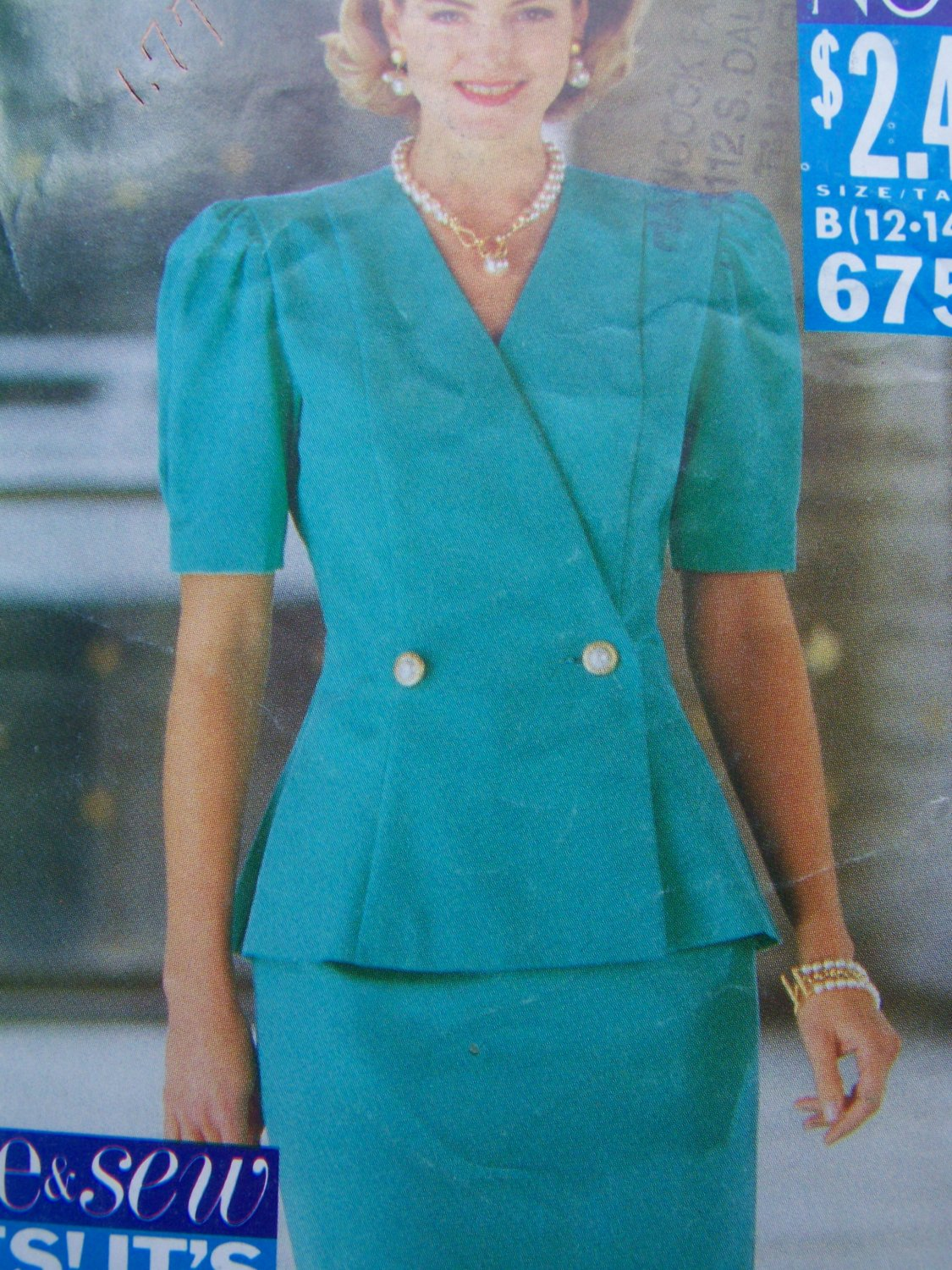 1990s New Sewing Pattern 6756 Misses 12 14 16 Princess Top Straight Skirt Suit