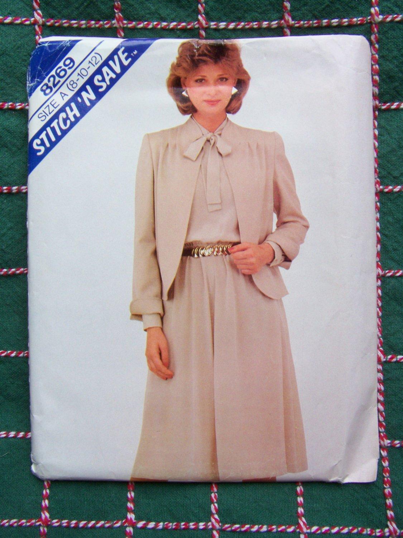 Vintage Uncut 80s Sewing Pattern 8269 Misses Jacket & Flared Dress Tie Vent Collar 8 10 12