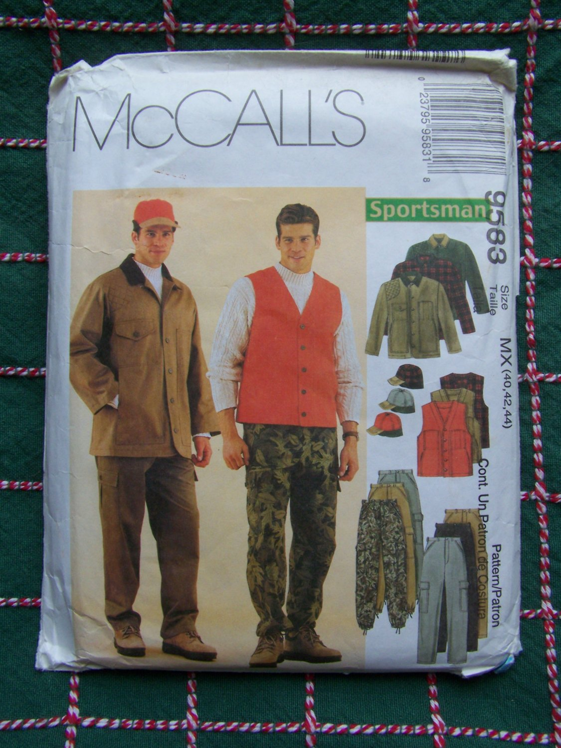 Mens New McCalls Sewing Pattern 9583 Sportsman Hunting Clothing Coat Vest Pants Hat 40 42 44