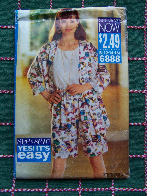 New 90s Sewing Pattern 6888 Misses Wide Leg Elastic Waist Shorts Top & Shirt 12 14 16