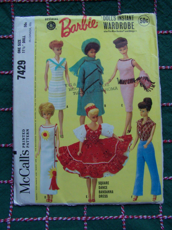 Part Cut 1964 Vintage Sewing Pattern McCall's 7429 Barbie or Midge 11 1/2 Original Doll Clothing