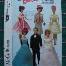 "1960's Vintage Sewing Pattern 7428 Barbie Midge 11.5 Dolls & 12"" Ken Doll Wardrobe"