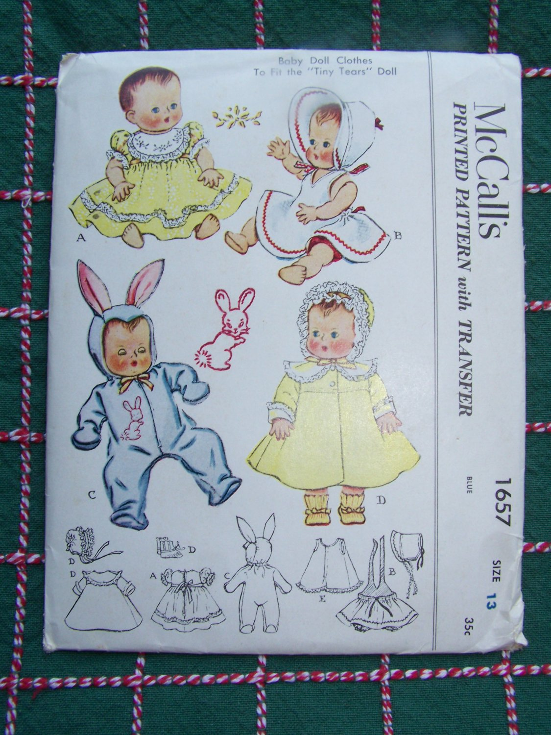 "1951 Vintage McCall's Sewing Pattern 1657 Baby Doll Clothes 13"" Part Cut"