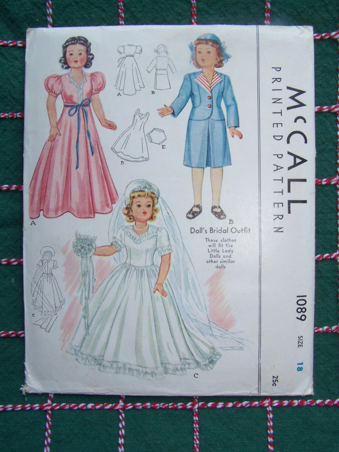 New 1940's Vintage McCall Sewing Pattern 1089 Doll 18 In Bridal Wedding Gown Dress Slip