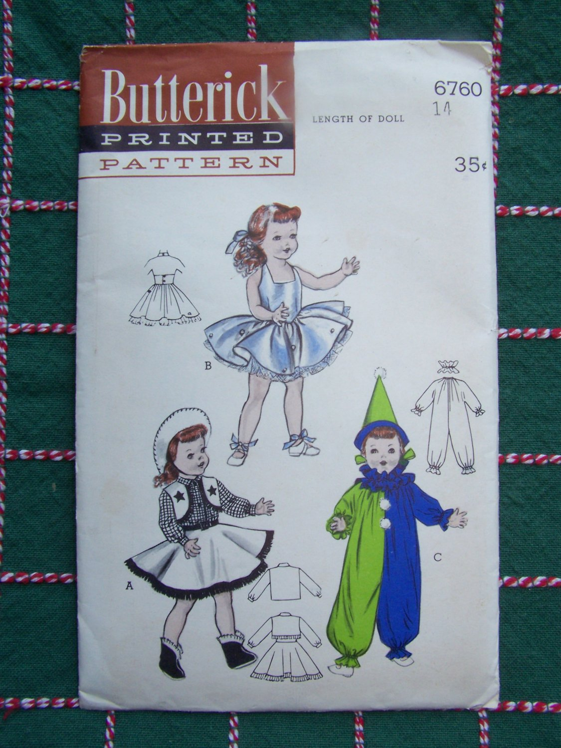 Vintage Butterick Sewing Pattern 6760 Doll Clothing 14 in Have Over 60 Dolls Clothes Patterns Listed