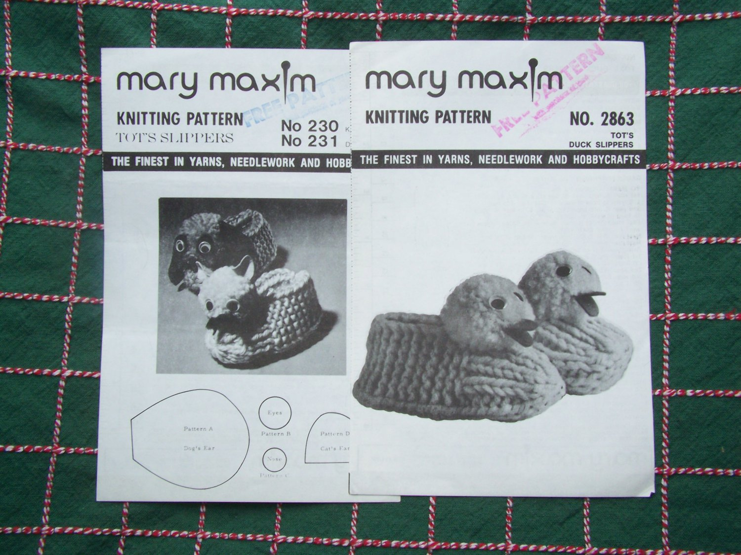 3 Vintage Mary Maxim Lot Knitting Patterns Cat Dog Duck Childrens House Shoes Slippers 230 231 2863