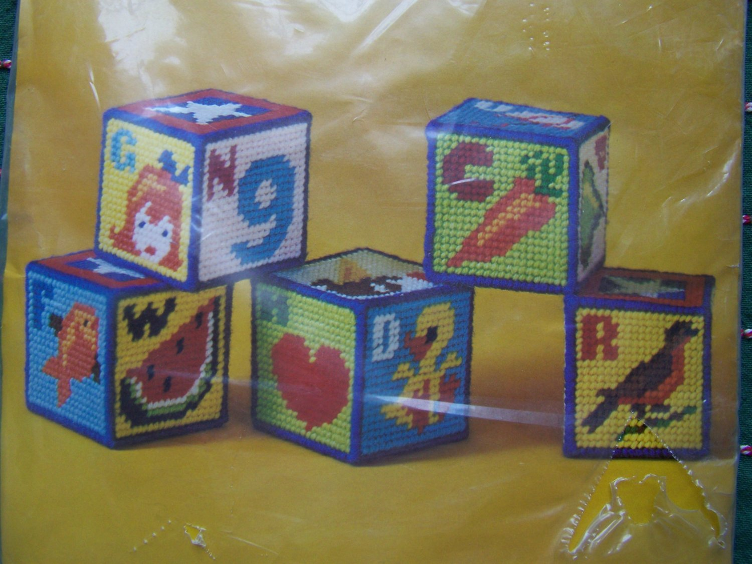 1970s Vintage Baby Blocks Plastic Canvas Craft Kit Columbia Minerva Needlepoint