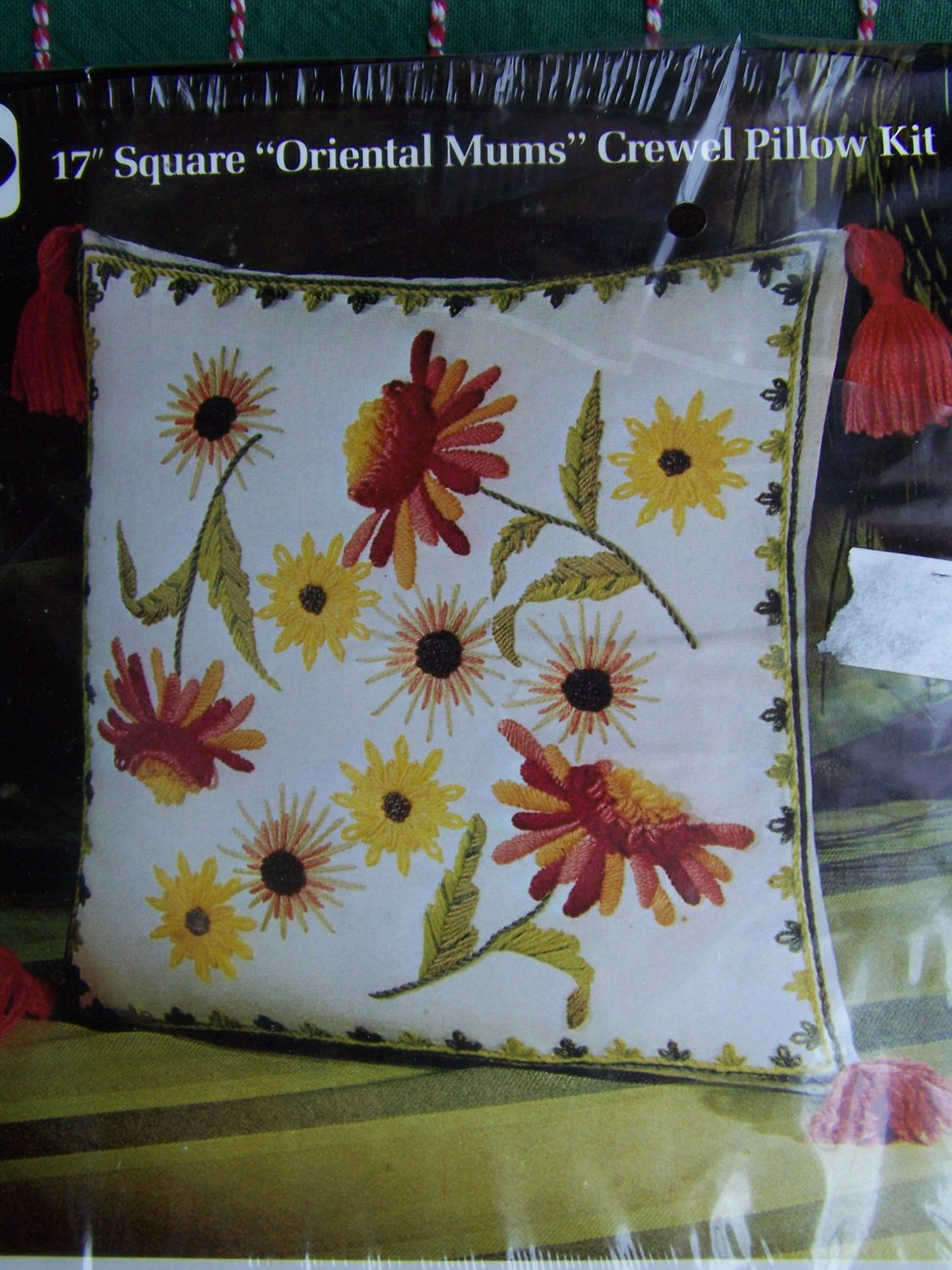 SALE Vintage Lee Wards Crewel Embroidery Pillow Kit Oriental Mums Floral Tassels