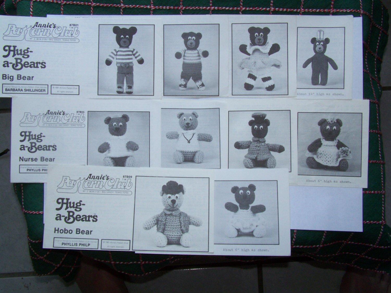 Vintage Lot of 10 Annies Pattern Club Crochet Patterns Hug A Bears Stuffed Animals