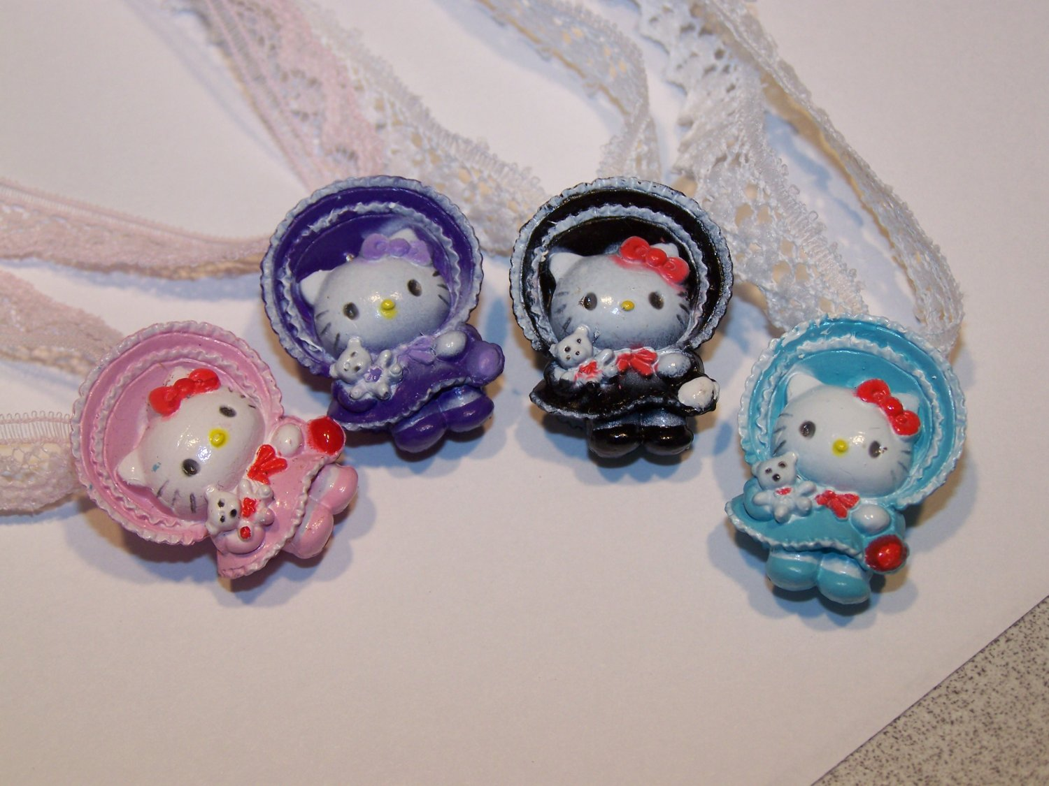 $5 New Handmade Vintage Hello Kitty Charm Necklace Lace Ties Pink Purple Black Teal Aqua