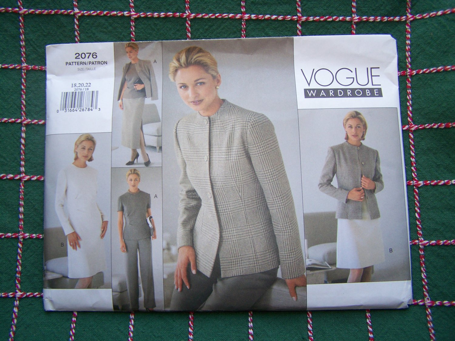 Uncut Vogue Sewing Pattern 2076 Plus Size 18 20 22 Jacket A Line Dress Top Ankle Tapered Skirt Pants